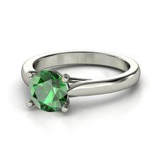 [Ring] Round Emerald Palladium Ring - Crisscross Round Solitaire Ring   Gemvara