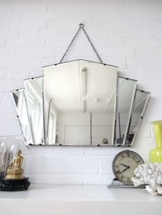home dco Art Deco Bathroom Mirrors - Vintage Diamond Mirror. Perfect over an art deco vanity top, preferably in Carrara Marble. Art Deco is about luxury, right
