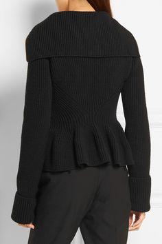 Alexander McQueen   Ribbed-knit wool peplum cardigan   NET-A-PORTER.COM