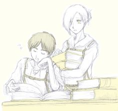 Eren and annie studying