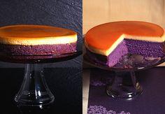 Ube Leche Flan Cake: custard on top, ube cake layer on the bottom.