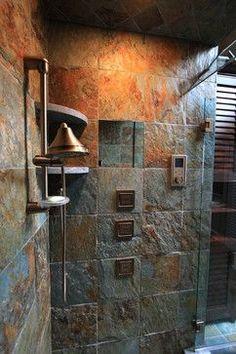 Image detail for -Bathroom Rustic Bath Tile Design Ideas, Pictures, Remodel, and Decor Slate Shower, Rustic Shower, Shower Cabin, Eclectic Bathroom, Rustic Bathrooms, Master Bathrooms, Modern Bathroom, Slate Bathroom, Tile Bathrooms