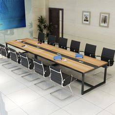 Cheap price factory direct metal legs oem 8 seater conference table