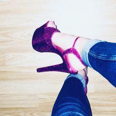 585bf4dc8f57 Pink glitter sky pleasers #stripperheels #feet #baldbarbie #nanna #pleasers  #highheels #glitter #pink