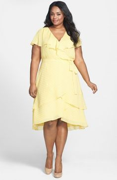 Adrianna Papell Polka Dot Flutter Sleeve Chiffon Dress Plus Daffodil 20w | Clothing