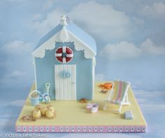 Bespoke celebration cakes designed by Victoria Jane Bakes Beach Theme Cupcakes, Beach Themed Cakes, Themed Cupcakes, Beach Hut Cake, Beach Cakes, Christmas Gingerbread House, Gingerbread Houses, Boat Cake, Nautical Cake