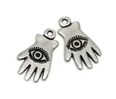 Hand with Eye charms Antique silver Evil Eye charms Third eye Hand charms Greek metal casting beads lead Free 2pc - F682 by MayaHoney on Etsy