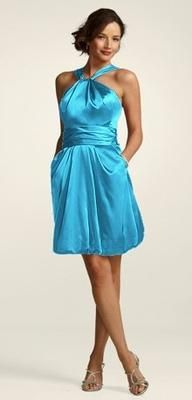 contrasting bridesmaid dresses will look great with tangerine bouquet.