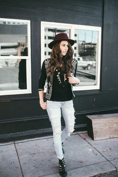 Fall jacket look! Love the embellished jacket with the distressed denim.