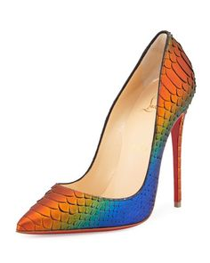 X2VXE Christian Louboutin So Kate Python 120mm Red Sole Pump, Cappucine