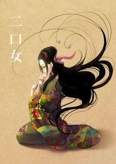 futakuchi-onna by kotorikurama on deviantART Japanese Horror, Japanese Art, Japanese Yokai, Mythological Creatures, Fantasy Creatures, Monsters Rpg, Japanese Urban Legends, Character Art, Character Design