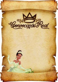 Convite Pergaminho Princesa e o Sapo Modelo 2