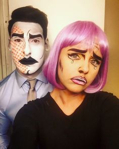 Halloween makeup for couples: Comic Book Characters