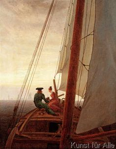"Análise da pintura de Caspar David Friedrich – ""On the Sailing Boat"" (No Veleiro) Caspar David Friedrich Paintings, Famous Art Paintings, Oil Painting Reproductions, Pictures To Paint, Conte, Sailing Ships, Sailing Boat, Oil Painting On Canvas, Art History"