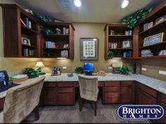3 desk #study - great space for multi-functional room Easton Model Home | Brighton Homes® | www.brightonhomes.com