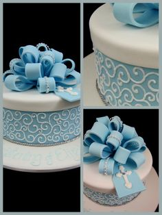 blue christening cake or baptism cake idea inspired by michelle cake designs