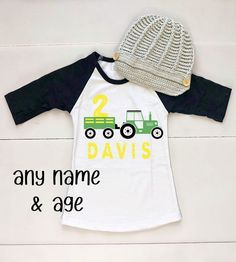 Tractor Birthday Tee Shirt - Tractor Birthday Outfit - Little Boy Birthday Outfits - Toddler Birthday Shirt - Boy Tractor Tee - Newsboy Hat Cute Birthday Outfits, Birthday Boy Shirts, Twin Birthday, Baby First Birthday, Birthday Highchair, Tractor Birthday, Farm Birthday, Birthday Ideas, Farm Themed Party