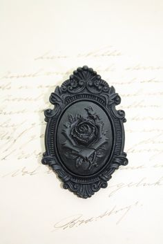 Gothic brooch - victorian brooch - cameo brooch - mourning rose black ornate. $17.00, via Etsy.
