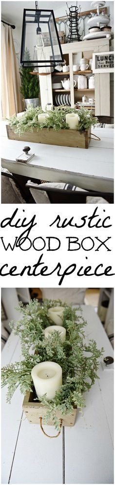 DIY Rustic Wood Box Centerpiece - See how to make this lovely rustic wood box centerpiece with rope handles. Versatile & can be filled with so many things. (how to decorate a mantle) Diy Wood Box, Rustic Wood Box, Wood Boxes, Wooden Diy, Rustic Decor, Diy Box, Wooden Centerpieces, Wood Box Centerpiece, Christmas Centerpieces