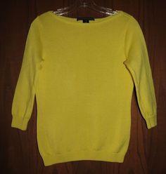 Ralph Lauren Black Label Lemon Yellow Cotton Knit Boat Neck Sweater M #RalphLaurenBlackLabel #BoatNeck