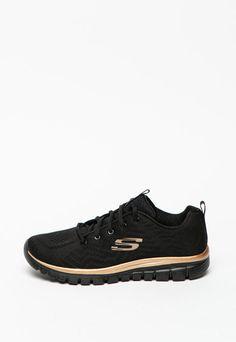 Pantofi sport de plasa Get Connected Skechers (12615-BKRG) | Fashion Days Skechers, Fashion Days, Interior, Casual, Sports, Black, Products, Tennis, Hs Sports
