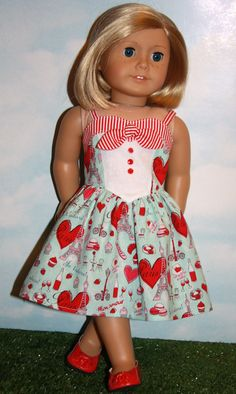 American Girl/18 Doll Aqua and Red Paris Print by SewLikeBetty                                                                                                                                                                                 More