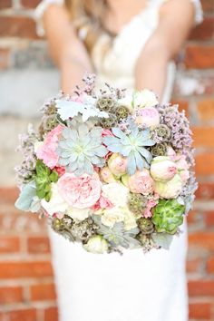 DIY bouquet with peonies, succulents, and scabiosa pods Diy Wedding Bouquet, Diy Bouquet, Peonies Bouquet, Diy Wedding Flowers, Pink Peonies, Diy Flowers, Larkspur Flower, Scabiosa Pods, Most Popular Flowers