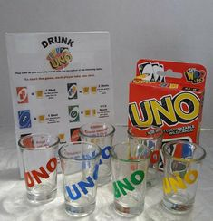 Drunk UNO is perfect for adult game night! The complete set includes: · UNO Cards Uno Drinking Game, Movie Drinking Games, Drinking Games For Parties, Drinking Games With Shots, Game Night Decorations, Drunk Games, Halloween Shots, Alcohol Games, Squad Game
