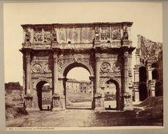 Roma. Arco di Costantino con il Colosseo 1860