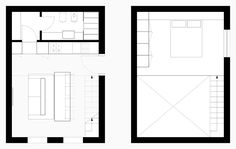 Isolagiorno: A Layout Ideal For Small Spaces Sofa Design, Cabin Design, Tiny House Design, Modern Tiny House, Small House Plans, House Floor Plans, Compact House, Micro House, Boconcept