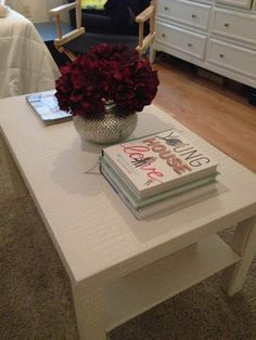 Love this idea. Its white (my fave decor color) yet textured. Best of both worlds!    IKEA Hackers: Faux Gator Coffee Table