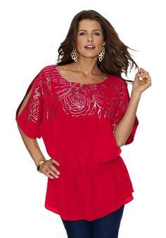 fdb3d7a8ad81f Amazon.com  Roamans Women s Rose Sequin Blouse From Denim 24 7  Clothing