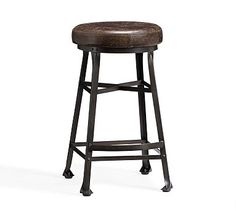 Decker Leather Seat Barstool #potterybarn I think this is what I've been looking for!