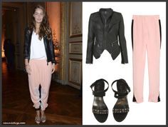 look of the night by ninasvintage: 3.1 Phillip Lim pink trousers, black leather jacket from Topshop and Lanvin sandals