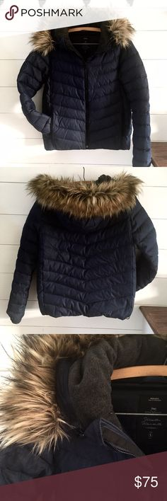 GAP Navy Puffer Jacket, Sz Small Tall Dark navy puffer jacket with faux fur hood. Worn a few times last winter. Size Small Tall so it won't be too short and let the cold air in. Sleeves are also the perfect length to keep wrists warm and pull over mittens. GAP Jackets & Coats Puffers