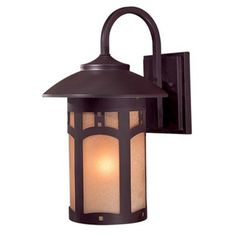 This handsome Minka Lavery Harveston Manor Wall-Mount Outdoor Lantern features an arts and crafts style with a hand applied multi-step Dorian bronze finish. A double French scavo glass shade complements the lantern's elegant look. Outdoor Ceiling Fans, Outdoor Wall Lantern, Outdoor Walls, Contemporary Outdoor Lighting, Transitional Wall Sconces, Cool Floor Lamps, Wall Sconce Lighting, Porch Lighting, Lighting Ideas
