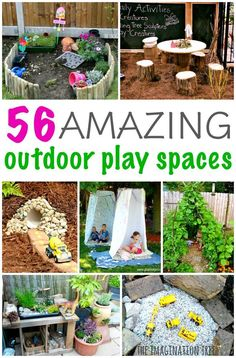 Inspiring Outdoor Play Spaces The Imagination Tree is part of Outdoor play areas - Be inspired by these totally amazing ideas for outdoor play spaces, with dens, nooks, climbing structures, mud kitchens and more for the backyard play area! Outdoor Learning Spaces, Kids Outdoor Play, Outdoor Play Areas, Kids Play Area, Backyard For Kids, Outdoor Fun, Outdoor Car Track For Kids, Childrens Play Area Garden, Natural Outdoor Playground