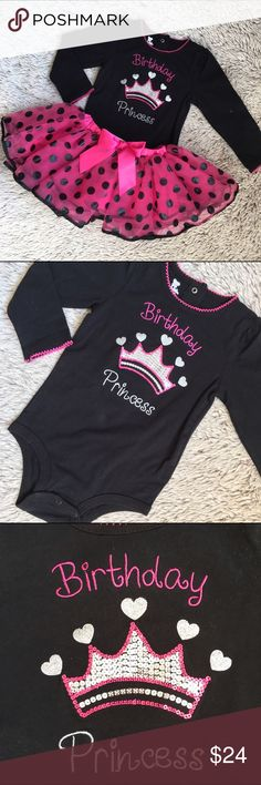 Birthday Princess 2 Piece Outfit🎂Like New Two piece outfit. Top is a onesie with snap closure at the bottom and two snaps at the back of the neck for easy on/off and diaper changes. Has a sequins crown in the center.  Only worn once. The hot pink with black polka dot tutu is adorable on. We wore it on her 2nd and 3rd birthday. Both are in like new condition. Size says 24 months/2T Koala Kids Matching Sets