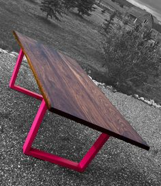 Walnut Dining Table with Neon Legs.