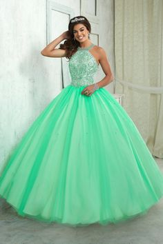 Beaded Halter Dress by House of Wu Fiesta Gowns Style 56316 Pretty Quinceanera Dresses, Cute Prom Dresses, Sweet 16 Dresses, 15 Dresses, Ball Dresses, Pretty Dresses, Formal Dresses, Quince Dresses Teal, Quinceanera Party