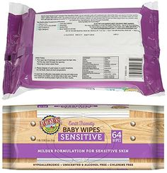 Earth's Best Sensitive Baby Wipes Hypoallergenic, Unscented, Alcohol Free, Chlorine Free, Milder Formulation Resealable Top 64 Count