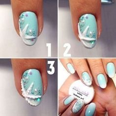 Semi-permanent varnish, false nails, patches: which manicure to choose? - My Nails Star Nail Art, 3d Nail Art, Ocean Nail Art, Nautical Nail Art, Airbrush Nail Art, Beach Nail Art, Sea Nails, Blue Nails, Nail Design Glitter