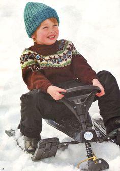Пуловер с орнаментом для мальчика и шапочка