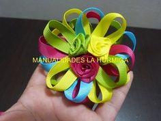 como hacer una flores multicolores faciles para decorar peinados No.187 - YouTube