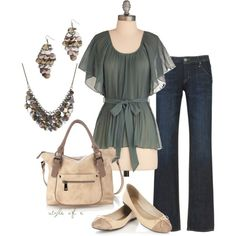 Green and Neutrals, created by styleofe on Polyvore
