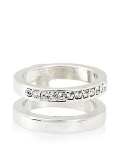60% OFF Beyond Rings Silver-Tone Double Band Midi Ring