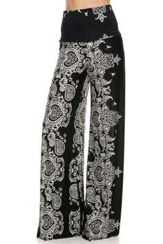 Fashion Forever Darling Paisley Wide Leg Yoga Palazzo Pants Misses Wide Leg Palazzo Pants, Printed Palazzo Pants, Patterned Pants, Palazzo Trousers, Cute Pants, Fancy Pants, Exuma Pants, Boho Fashion, Fashion Outfits