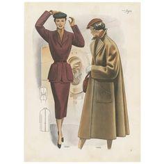 1950s Fashion Women, Mod Fashion, Fashion Prints, Vintage Fashion, Dress Design Drawing, Old School Fashion, Vintage Winter, Vintage Sewing Patterns, Fashion History