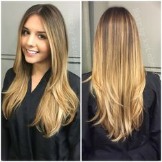 Blonde balayage ombre on straight hair