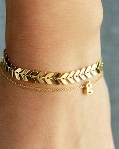 Chevron Bracelet - Gold or Silver Chevron Bracelet Bridesmaid Gift Bridal Bracelet Dainty Chain Bracelet Layering Bracelet Fancy by TomDesign on Etsy https://www.etsy.com/listing/249321418/chevron-bracelet-gold-or-silver-chevron